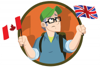 Cartoon Character of Terry Bridle holding up both An American and British Flag