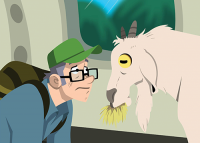 Cartoon of Terry Bridle, face to face with a goat